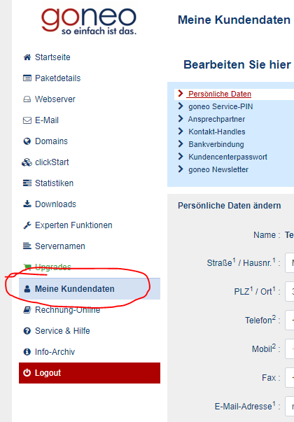Screenshot Kundencenter: Anmeldung Zugangsdaten ändern